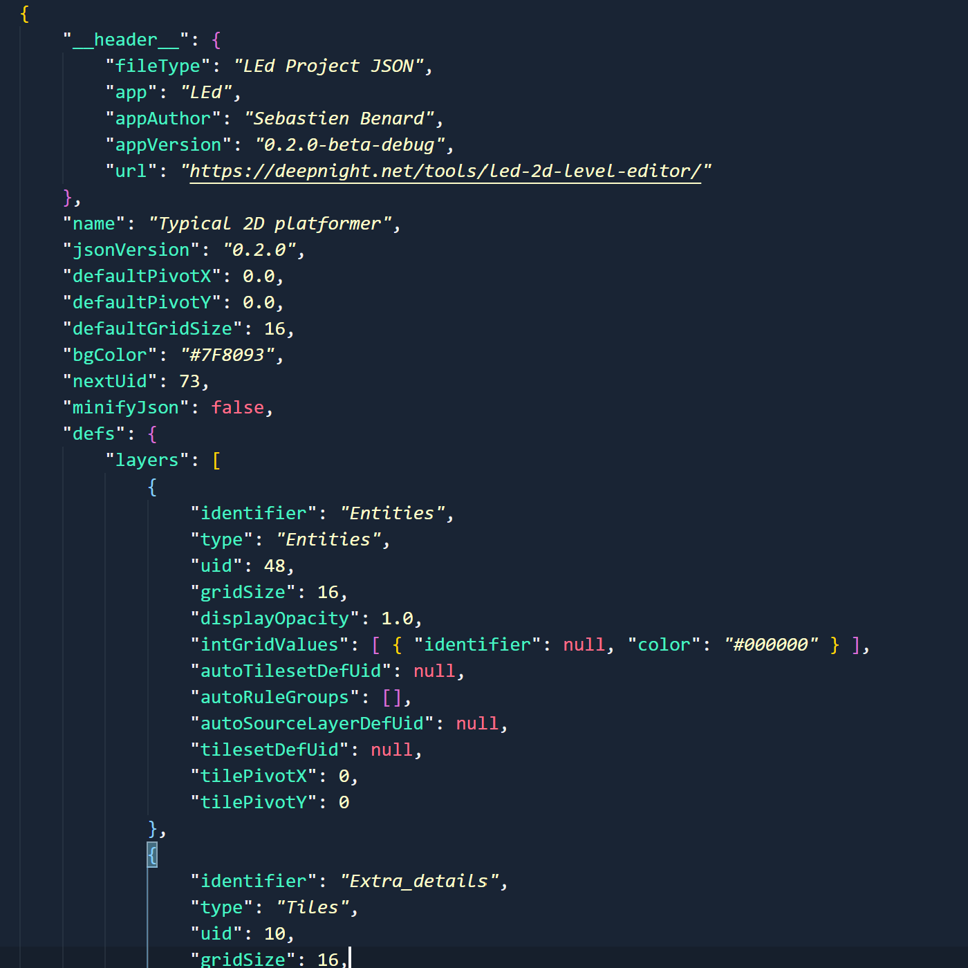 An easy to parse JSON file format